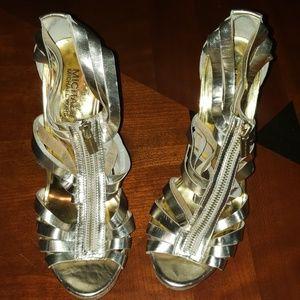 Michael Kors Gold Stilettos Size 8 M Leather